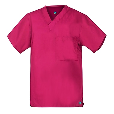 Core 1016X 2-Pocket V-Neck Top, Hot Pink, Plus 5XL