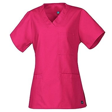 Core 1626 3-Pocket V-Neck Top, Hot Pink, Regular M