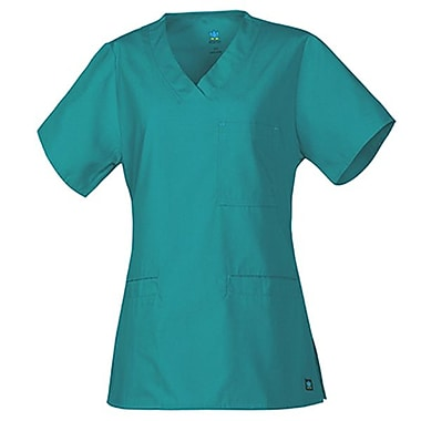 Core 1626 3-Pocket V-Neck Top, Teal, Regular XS