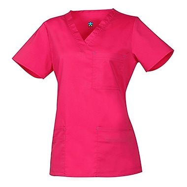 Blossom 1202 3-Pocket Fashion V-Neck Top, Passion Pink, Regular XL