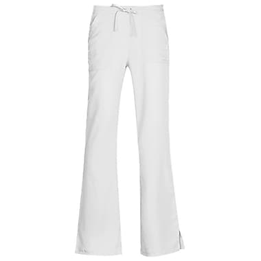 Gravity 9203 Sporty Back Elastic Front Drawstring Flare Pant, White, Regular M