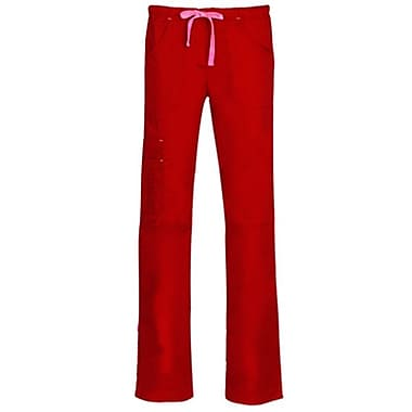 Blossom 9302 Triple Pintuck Multi-Pocket Utility Pant, Crimson, Regular S