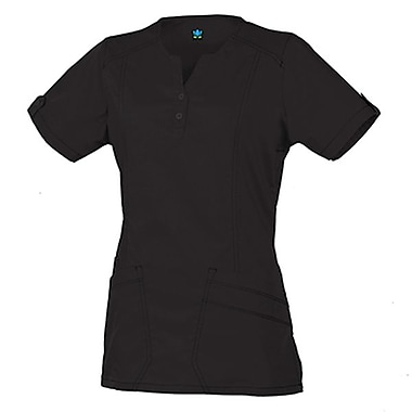 Blossom 1602 European Y-Neck Multi-Pocket Top, Black, Regular XL