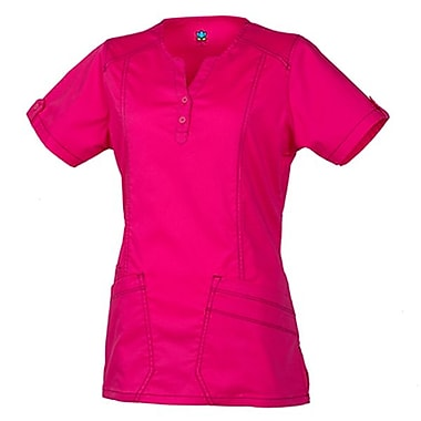 Maevn Blossom 1602 European Y-Neck Multi-Pocket Tops, Passion Pink