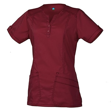 Blossom 1602 European Y-Neck Multi-Pocket Top, Wine, Regular XS