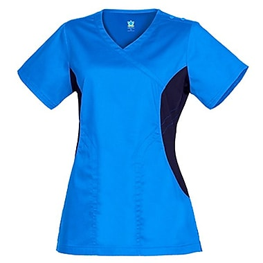 Empress 3102 Knit Accent Y-Neck Top, Malibu Blue, Regular XL