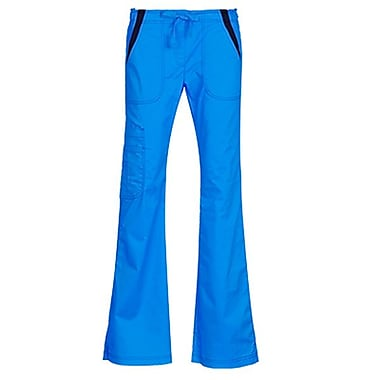 Empress 7102P Multi-Pocket Fashion Flare Pant with Contrast, Malibu Blue, Petite XS