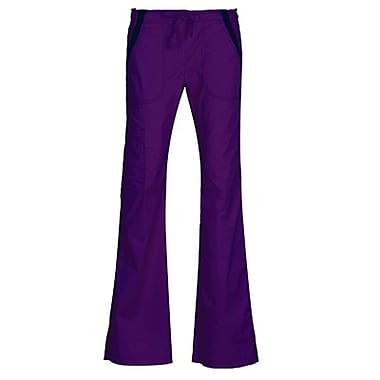 Empress 7102P Multi-Pocket Fashion Flare Pant with Contrast, True Purple, Petite XS