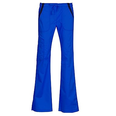 Empress 7102P Multi-Pocket Fashion Flare Pant with Contrast, Royal, Petite S