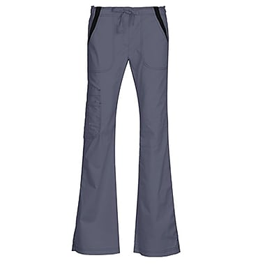 Empress 7102P Multi-Pocket Fashion Flare Pant with Contrast, Pewter, Petite S
