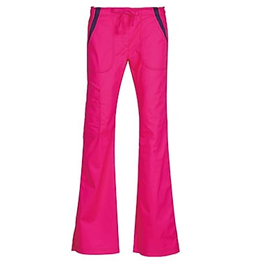 Maevn Empress 7102P Multi-Pocket Fashion Flare Pants with Contrast, Passion Pink