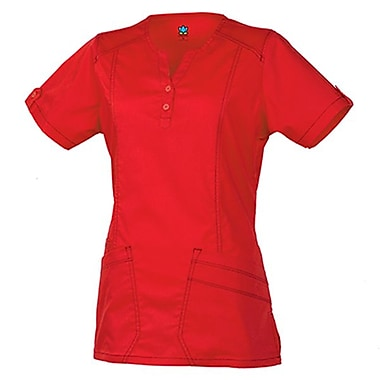 Blossom 1602 European Y-Neck Multi-Pocket Top, Crimson, Regular S