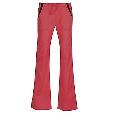 Empress 7102P Multi-Pocket Fashion Flare Pant with Contrast, Coral, Petite 2XL