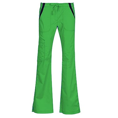 Maevn Empress 7102 Multi-Pocket Fashion Flare Pants with Contrast, Apple Green