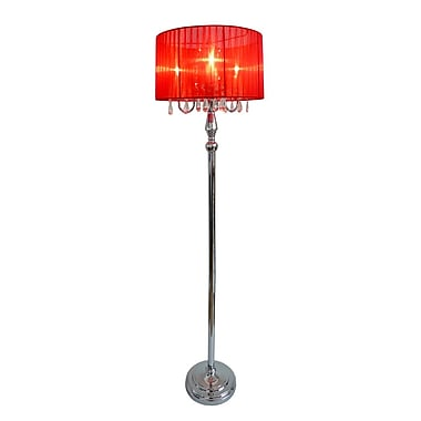 All the Rages Elegant Designs LF1002-RED Sheer Shade Floor Lamp, Red