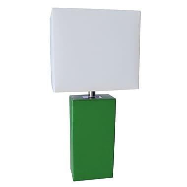 All the Rages Elegant Designs LT1025-GRN Leather Table Lamp, Green
