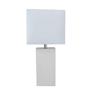All the Rages Elegant Designs LT1025-WHT Leather Table Lamp, White