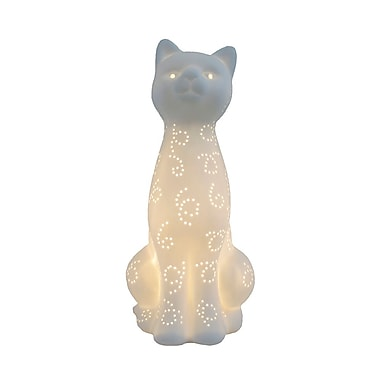 All the Rages Simple Designs LT3056-WHT Porcelain Cat Table Lamp, White