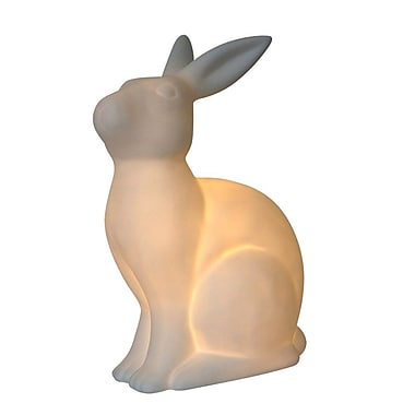 All the Rages Simple Designs LT3058-WHT Porcelain Rabbit Table Lamp, White