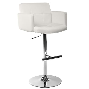 Sunpan Modern Churchill Adjustable Height Bar Stool; White