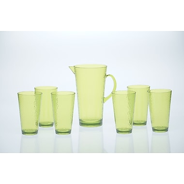 Certified International 7 Piece Acrylic Hammered Glass Drinkware Set; Lime Green