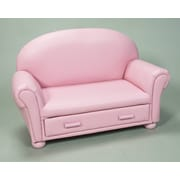 Gift Mark Upholstered Children's Chaise Lounge with Drawer; Light Pink