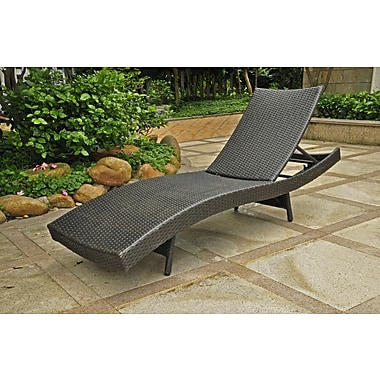International caravan barcelona resin wicker aluminum for Black outdoor wicker chaise