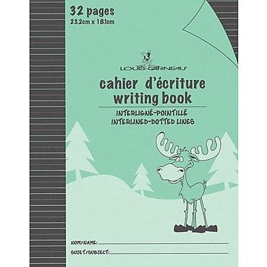 Louis Garneau - Cahiers d'écriture avec interlignes pointillées, 9 1/4 po x 7 1/4 po, 32 pages, vert, paq./48