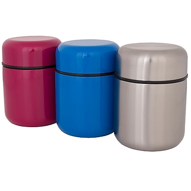 Geo Stainless Steel Vacuum Flasks, Blue/Pink/Silver, 3/Pack