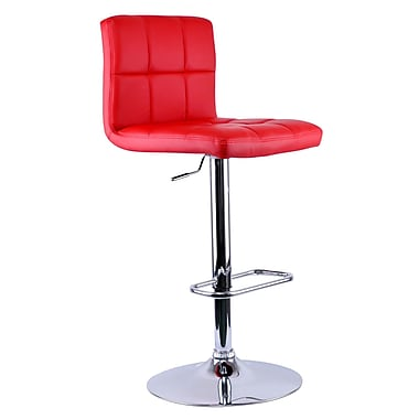 WHI Padded Seat Adjustable Chrome Stool with Red Faux Leather, Set Of 2