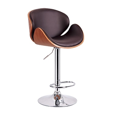 !nspire Bent Wood Adjustable Stool with Faux Brown Leather, Walnut