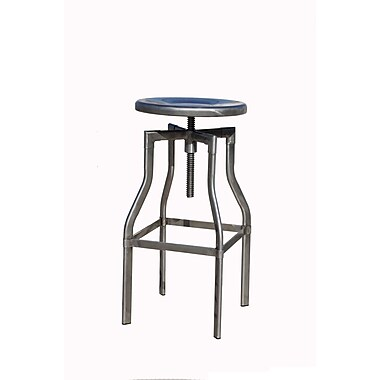 !nspire Backless Adjustable Metal Stool, Distressed Gunmetal