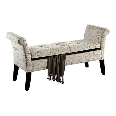 WHI Script Fabric Storage Benches, 53-1/2
