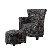 WHI Script Fabric Club Chair with Ottoman, Black