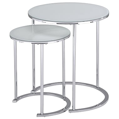 !nspire 2 -Piece Accent Table, White/Chrome