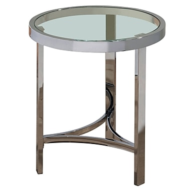 !nspire – Table d'appoint ronde de 23 po, verre/chrome