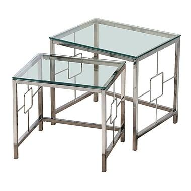 !nspire – Tables gigognes, ensemble de 2 tables, chrome/verre