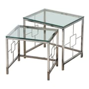 !nspire 2 -Piece Nesting Tables, Chrome/Glass