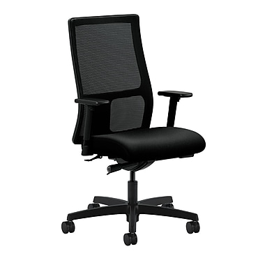 HON Ignition Mid-Back Mesh Task Chair Synchro-Tilt with Adjustable Arms, Black Fabric