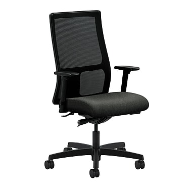 HON Ignition Mid-Back Mesh Task Chair Synchro-Tilt with Adjustable Arms, Blue Fabric