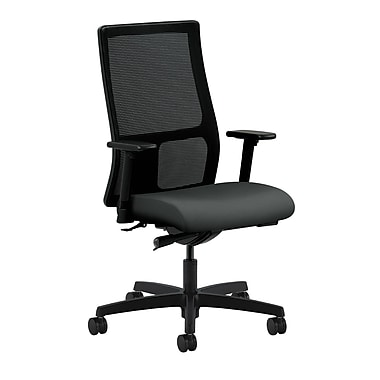 HON Ignition Synchro-Tilt with Adjustable Arms Mid-Back Mesh Task Chair, Iron Ore Fabric