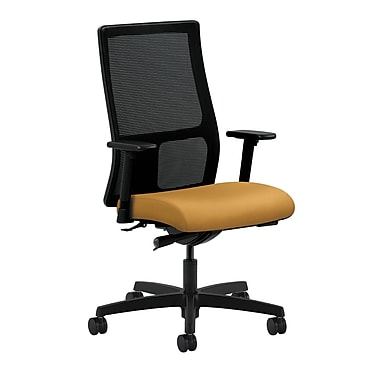 HON Ignition Synchro-Tilt with Adjustable Arms Mid-Back Mesh Task Chair, Mustard Fabric