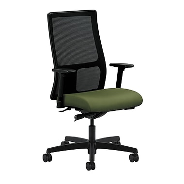 HON Ignition Synchro-Tilt with Adjustable Arms Mid-Back Mesh Task Chair, Clover Fabric