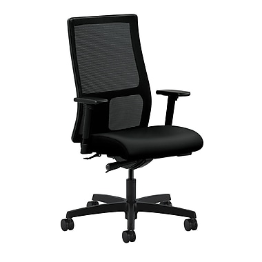 HON Ignition Synchro-Tilt with Adjustable Arms Mid-Back Mesh Task Chair, Black Polyurethane
