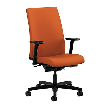 HON Ignition Mid-Back Task Chair Synchro-Tilt, Back Angle Adjustable Arms, Tangerine Fabric