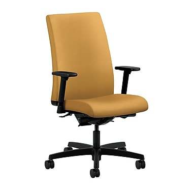 HON Ignition Mid-Back Task Chair Synchro-Tilt, Back Angle Adjustable Arms, Mustard Fabric
