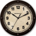 FirsTime 00192 Raised Station Wall Clock, Black Face