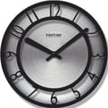 FirsTime 10013 Black on Steel Wall Clock, Silver Face