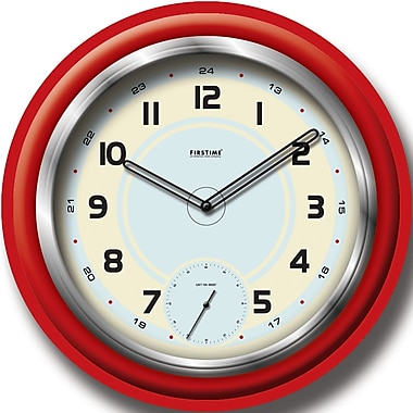 FirsTime 10021 Plastic Analog Wall Clock, Red