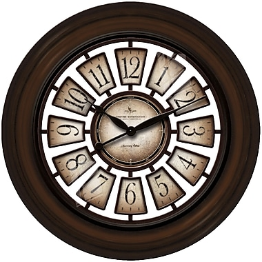 FirsTime 10026 Plastic Analog Wall Clock, Brown